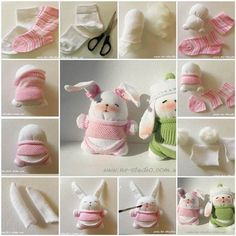 """<input class=""""jpibfi"""" type=""""hidden"""" >Easter is around the corner! Let's make some Easter toys for kids. Here is a fun DIY project to make an adorable sock bunny. It's very easy to make. All you need is just a few pairs of old socks,… Diy Sock Toys, Sock Crafts, Sock Bunny, Bunny Plush, Fat Bunny, Easter Crafts, Crafts For Kids, Easter Toys, How To Make Socks"""
