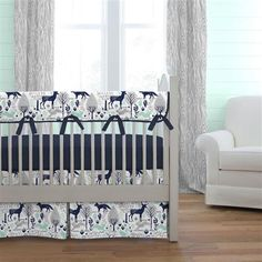 Navy and Mint Woodlands Crib Bedding | Carousel Designs