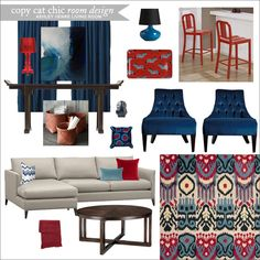 Chic Room Designs, Teal and Red, noraquinonez.etsy.com