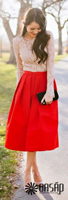 Structured Silhouette Swing Skirt - OASAP.com