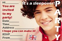 Kids into One Direction? 1D mania has gone mad - if they're having a sleepover party - then they might love this invitation featuring...I dunno... Liam? Neil? Nigel? Who knows? :D