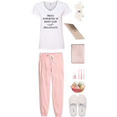 Proud supporter of messy hair and sweatpants by musicfriend1 on Polyvore featuring H