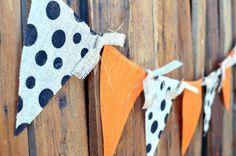 Orange burlap and black polka dot shabby chic BURLAP by LylaDee, $16.00