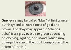 I think my eyes are grey. I have always said they were blue even though sometimes they can be really green or grey, depending on the time of day or my mood.