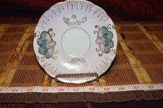 """Porcelain Pink With Gold Floral Saucer Iridescent spots 5 1/2"""" #Floral #Unknown"""