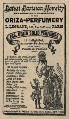 Vintage Victorian Advert for Oriza Solid Perfumes 1889 Vintage Advertising Posters, Vintage Advertisements, Savon Soap, Gibson Girl, Solid Perfume, Scented Oils, Retro Ads, Vintage Perfume, Secret Santa