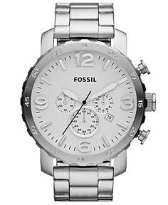 Fossil Watch, Men's Chronograph Nate Stainless Steel Bracelet 50mm JR1444 - Men's Watches - Jewelry & Watches - Macy's
