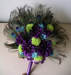 Peacock themed wedding accoutrements