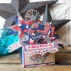 Patriotic Stars Card in a Box by Hilary Kanwischer Sizzix Die Cutting Lori Whitlock 4th Fourth of July America Red White Blue Holiday