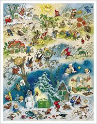Vier Jahreszeiten - Adventskalender und Wandbild Fritz Baumgarten