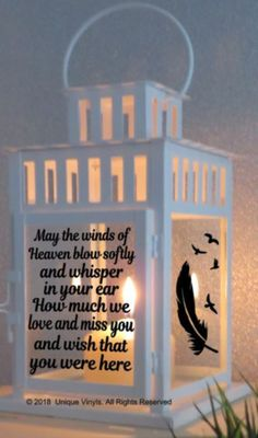 Vinyl Sticker For IKEA Lantern - May the winds of Heaven blow softly, Sticker #Unbranded #memorial