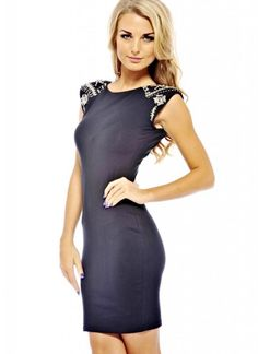 For a seriously glamorous and sexy look, this embellished jewel shoulder dress is perfect. With a bodycon style to really show off those curves. Just add some of our glam heels and you'll definitely be the centre of attention with this dress Approx length from shoulder to hem: 86cm Color: BLACK $19.60  DW1252BLK-H17