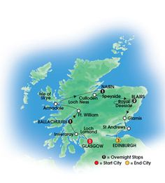 2013 SCOTTISH DREAM 9 Day Escorted Coach Tour of Scotland - Superior First Class hotels - Overnights: 1 Glasgow, 1 Ballachulish, 1 Nairn, 2 Blairs, 3 Edinburgh - Starts Glasgow/ends Edinburgh - CIE Tours