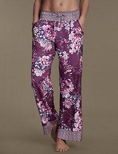 Buy the Floral Palazzo Pyjama Bottoms from Marks and Spencer's range. Linen Drawstring Pants, Pyjamas, Nightwear, Lounge Wear, Feminine, Lingerie, Palazzo, My Style, Lady
