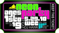 Neon Party Ticket