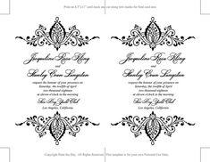 DIY Wedding Invitation Template Black by PaintTheDayDesigns