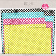 Hello, Neon paper pack freebie from Digital Design Essentials