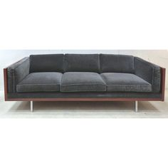 Fine Mid-Century Modern Wood Tuxedo Sofa Attributed to Milo Baughman Cool Couches, Comfortable Couch, Milo Baughman, Wood Sofa, Family Pictures, Wall Colors, Tuxedo, Storage Spaces, Mid-century Modern