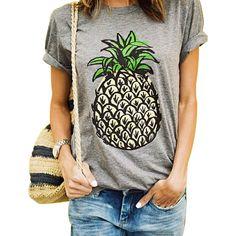 Piña Piña Camisetas de moda de Verano Mujeres de la Impresión Camiseta Ocasional Del O-cuello de Manga Corta Camiseta Tops Crop Top Mujer Ropa