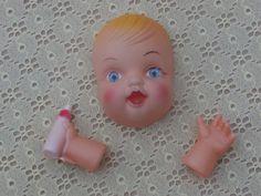 Little Baby Doll Head Vintage Craft Supply Bottle Sucker Style 3.5 inch, Blonde Gem Eyed