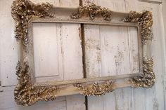 Large vintage frame hand painted white putty by AnitaSperoDesign, $250.00