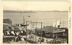 "Big Bathhouse with Gym, Lysekil, Sweden  ""Big Bathhouse with Gym"". Probably consul Johan Gabriel Mollén with wife to the left in the picture. 1862"