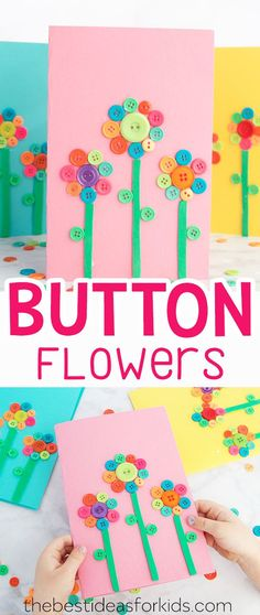 Button Flower Card Art & Craft Idea for Mother's Day or Spring Craft. Lovely Mother's Day Gift from Kids or Mother's Day Crafts for Preschoolers. This is such an easy Mother's Day Craft Kids can Make.