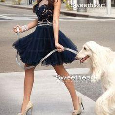 Blue A-line Round Neckline Lace Short Prom Dresses, Homecoming Dresses