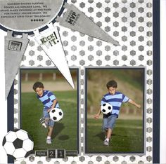 Like the layout, coordinating paper, and the banner pennants to add event info to the LO - CCC Pennant Soccer Additions Scrapbook Layout