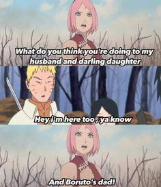 """Lol Sakura kills me with that ! She actually said, """"And my precious friend, too !"""" But, she stays worried about her little Uchiha & Papasuke. Kakashi, Sasuke Sakura Sarada, Naruto Comic, Naruto Funny, Naruto And Sasuke, Naruto Shippuden, Shikatema, Narusaku, Naruto Names"""