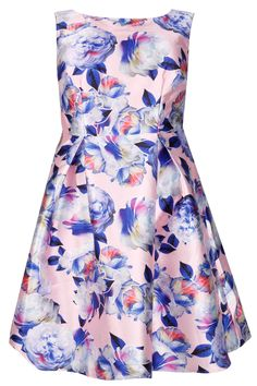 6605ab1f44 CHI CHI LONDON Pale Pink Floral Print Sateen Prom Dress Plus Size Party  Dresses