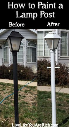 Is your lamp post a little rusty, dirty, or does it clash with the outside of your house? This is a super easy, quick, and inexpensive way to update your lamp post!