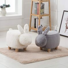 Online Shop Creative rabbit shoe bench American solid wood footrest shoes stool modern minimalist stool | Aliexpress Mobile