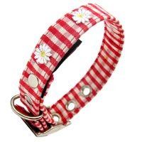 Red Gingham Fabric Dog Collar with Daisies