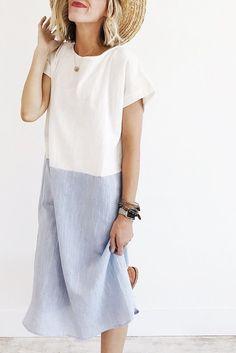 summer color-block dress | ROOLEE
