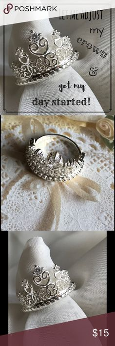 Classic Crown Glitter Ring Fun and flirty ring glitters in the sunshine. Silver plated with tiny rhinestones. Super light weight, made of a silver plated, aluminum alloy. Size 7 Jewelry Rings