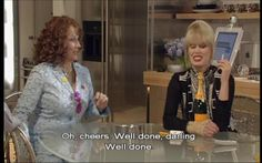 """She has the lowest bone density on record."""" -- """"Oh cheers, well done darling, well done! British Sitcoms, British Comedy, Absolutely Fabulous Quotes, Patsy And Eddie, Top Tv Shows, Trailer Park Boys, British Humor, Ab Fab, Comedy Show"""