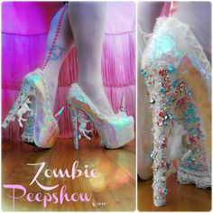 These ZombiePeepshow Pegasus platform pumps are customized with unicorns, crystal heels, lace, glitter, and iridescent finish. They were hand painted
