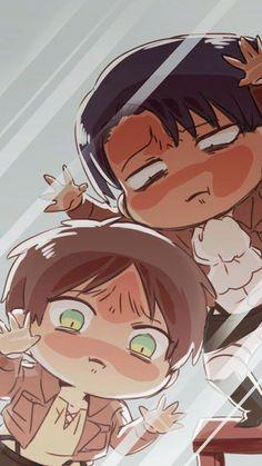 Attack on Titan - Levi & Eren - Chibi Anime Kawaii, Anime Chibi, Manga Anime, Anime Art, Chibi Eren, Eren E Levi, Attack On Titan Anime, Armin, Got Anime