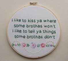 Embroidered Rap Lyrics: Bonita Applebum by A Tribe Called Quest. By nodiggitynodoubt