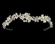 Enchanting Flower and Pearl Wedding Tiara in Silver or Gold--Affordable Elegance Bridal -