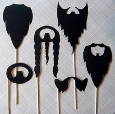 Photobooth Props. Photo Props. Beard Me - Set of Six Beards on a Stick