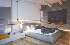 El dormitorio repite los neutros, pero esta vez el acento de color recae en el amarillo.