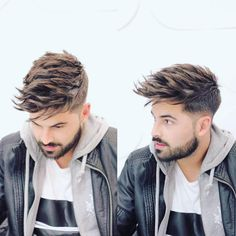 Get this Hairstyle: Undercut with Long Textured Spiky Fringe on Brown Hair with Highlights