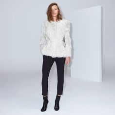 FWSS The Trip Short is a short lamb shearling jacket with press buttons at front, slit in center back, inseam pockets and leather panels on the inside of arms. Fall Winter Spring Summer, Shearling Jacket, Lamb, Buttons, Pockets, Seasons, Leather, Collection, Tops