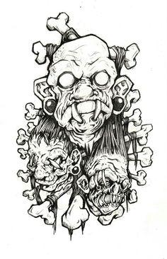 Voodoo Tattoo, Tiki Tattoo, Dark Art Illustrations, Dark Art Drawings, Creepy Tattoos, Head Tattoos, Shrunken Head Tattoo, Tattoo Sketches, Tattoo Drawings