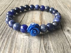 Gemstone bracelet, woman stretch stacking bracelet, Blue beaded bracelet, rose bracelet, woman gemstone jewelery, woman gift, Boho bracelet…