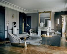 133 how to create a modern parisian interior design 9 Interior Design Living Room, Living Room Decor, Living Spaces, Interior Decorating, Parisian Apartment, Apartment Design, Architectural Section, Home And Living, House Design