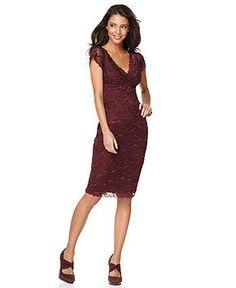 Marina Petite Dress, Cap Sleeve Lace - Womens - Macy's