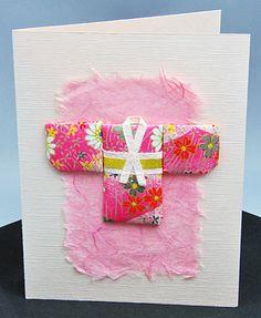 handmade card: Oshie - Washi Paper Quilting From Hanko Designs ... pink washi paper kimono ...